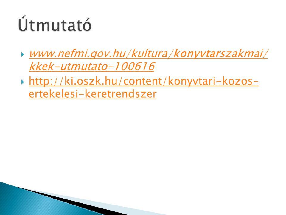  www.nefmi.gov.hu/kultura/konyvtarszakmai/ kkek-utmutato-100616 www.nefmi.gov.hu/kultura/konyvtarszakmai/ kkek-utmutato-100616  http://ki.oszk.hu/co