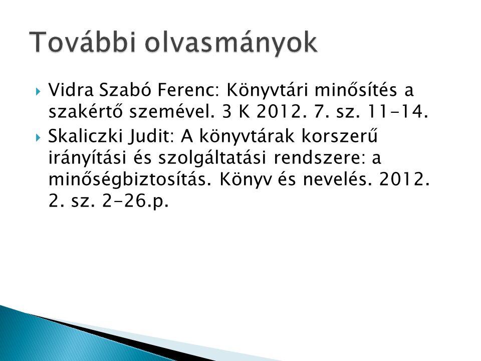  Vidra Szabó Ferenc: Könyvtári minősítés a szakértő szemével. 3 K 2012. 7. sz. 11-14.  Skaliczki Judit: A könyvtárak korszerű irányítási és szolgált