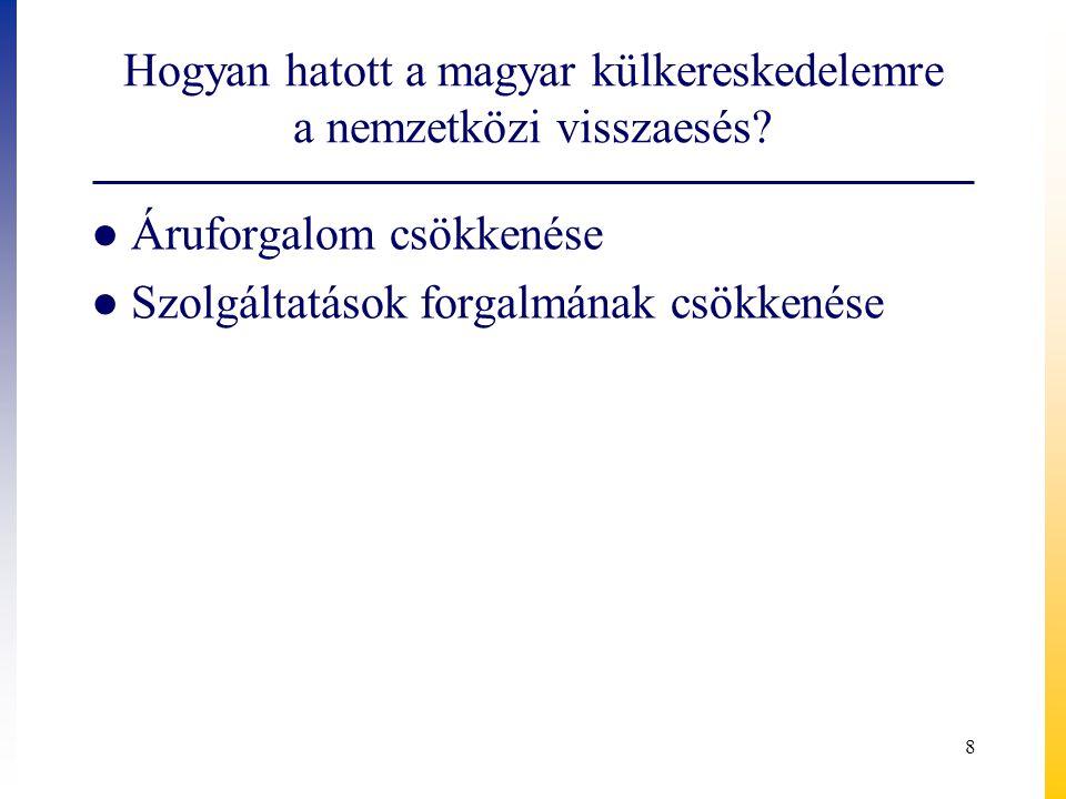 Hogyan hatott a magyar külkereskedelemre a nemzetközi visszaesés? ● Áruforgalom csökkenése ● Szolgáltatások forgalmának csökkenése 8