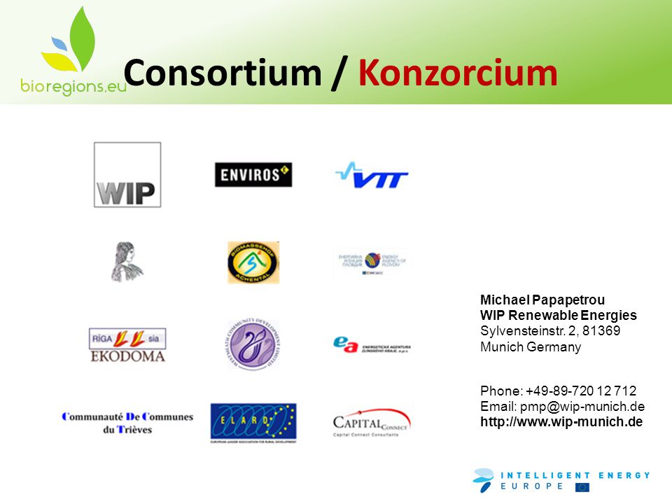 Consortium / Konzorcium Michael Papapetrou WIP Renewable Energies Sylvensteinstr.