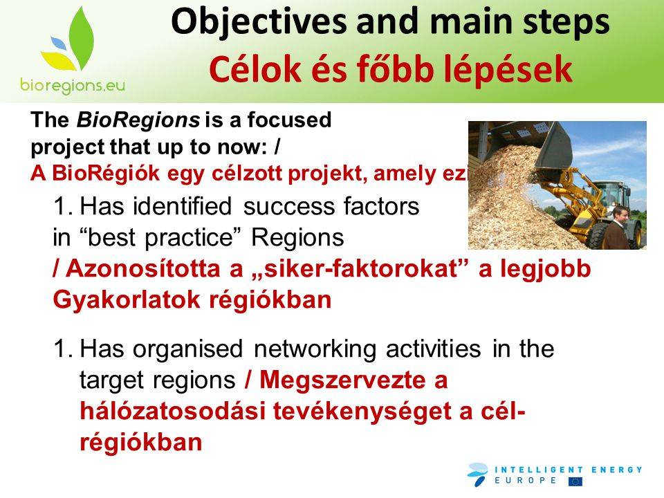 "Objectives and main steps Célok és főbb lépések The BioRegions is a focused project that up to now: / A BioRégiók egy célzott projekt, amely ezidáig: 1.Has identified success factors in best practice Regions / Azonosította a ""siker-faktorokat a legjobb Gyakorlatok régiókban 1.Has organised networking activities in the target regions / Megszervezte a hálózatosodási tevékenységet a cél- régiókban"