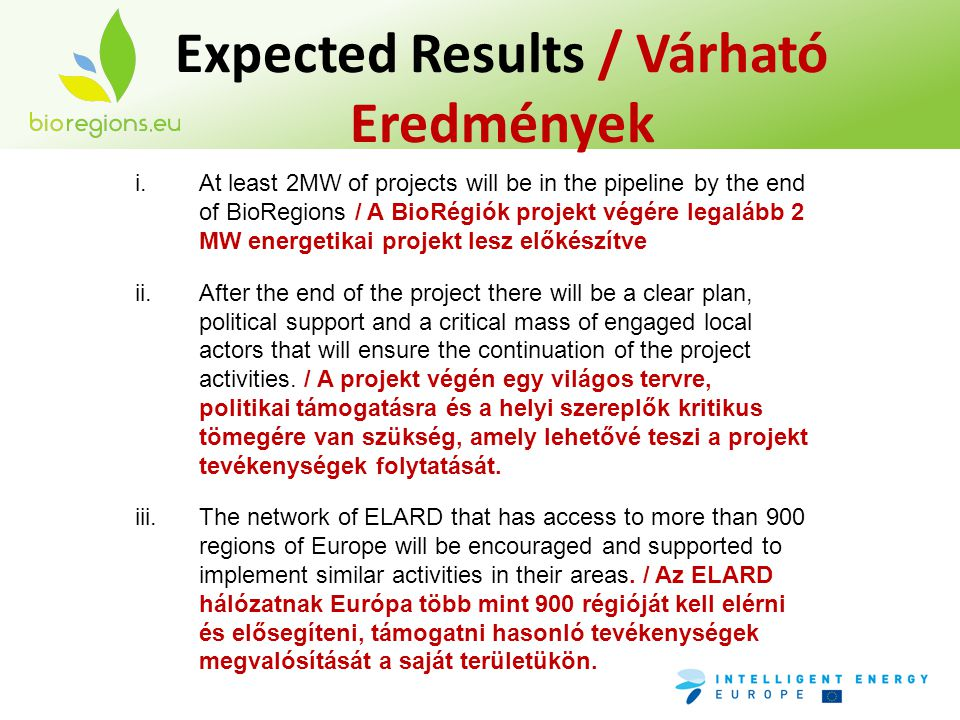 Expected Results / Várható Eredmények i.At least 2MW of projects will be in the pipeline by the end of BioRegions / A BioRégiók projekt végére legaláb