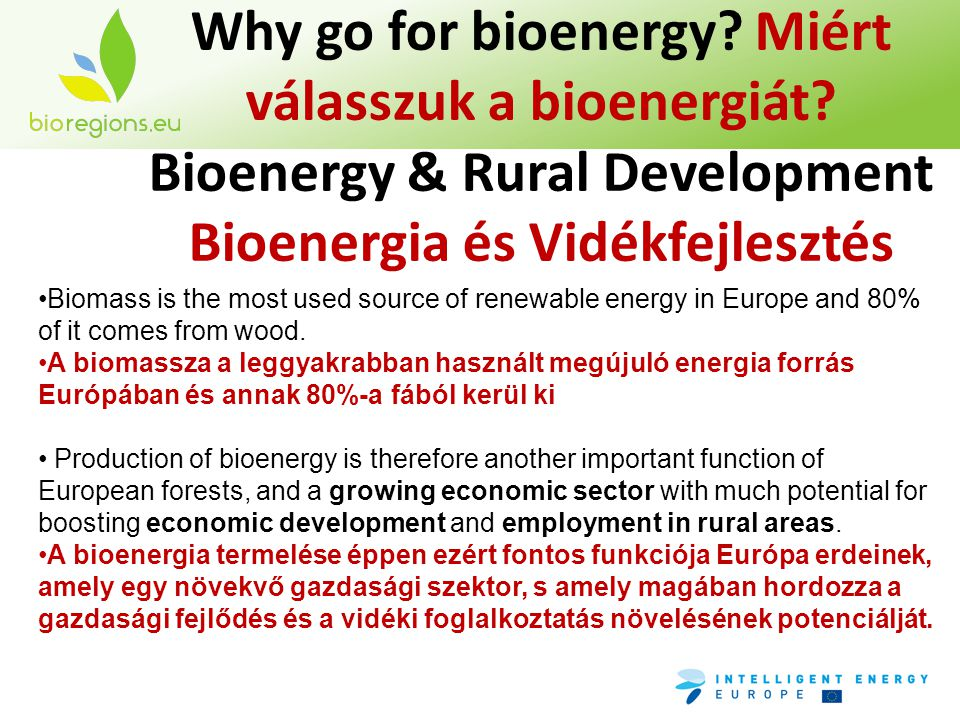 Why go for bioenergy? Miért válasszuk a bioenergiát? Bioenergy & Rural Development Bioenergia és Vidékfejlesztés •Biomass is the most used source of r