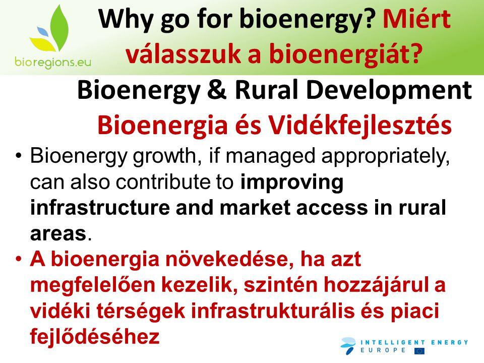 Why go for bioenergy? Miért válasszuk a bioenergiát? Bioenergy & Rural Development Bioenergia és Vidékfejlesztés •Bioenergy growth, if managed appropr