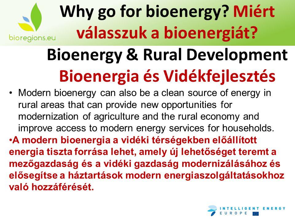 Why go for bioenergy? Miért válasszuk a bioenergiát? Bioenergy & Rural Development Bioenergia és Vidékfejlesztés •Modern bioenergy can also be a clean