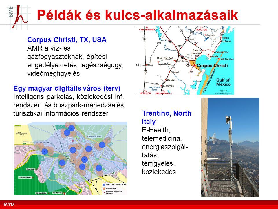 Példák és kulcs-alkalmazásaik 6/7/12 Corpus Christi, TX, USA AMR a víz- és gázfogyasztóknak, építési engedélyeztetés, egészségügy, videómegfigyelés Egy magyar digitális város (terv) Intelligens parkolás, közlekedési inf.