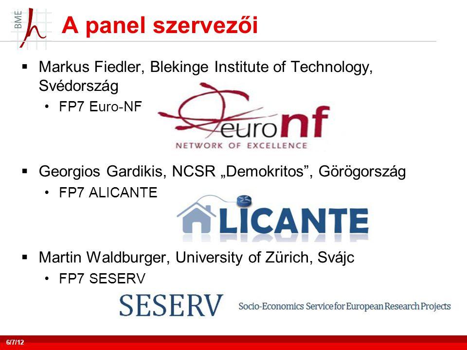 """A panel szervezői  Markus Fiedler, Blekinge Institute of Technology, Svédország •FP7 Euro-NF  Georgios Gardikis, NCSR """"Demokritos , Görögország •FP7 ALICANTE  Martin Waldburger, University of Zürich, Svájc •FP7 SESERV 6/7/12"""