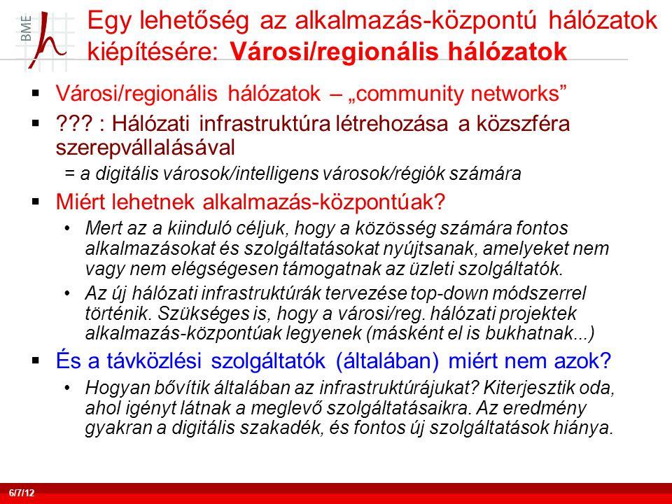 """Egy lehetőség az alkalmazás-központú hálózatok kiépítésére: Városi/regionális hálózatok  Városi/regionális hálózatok – """"community networks""""  ??? : H"""