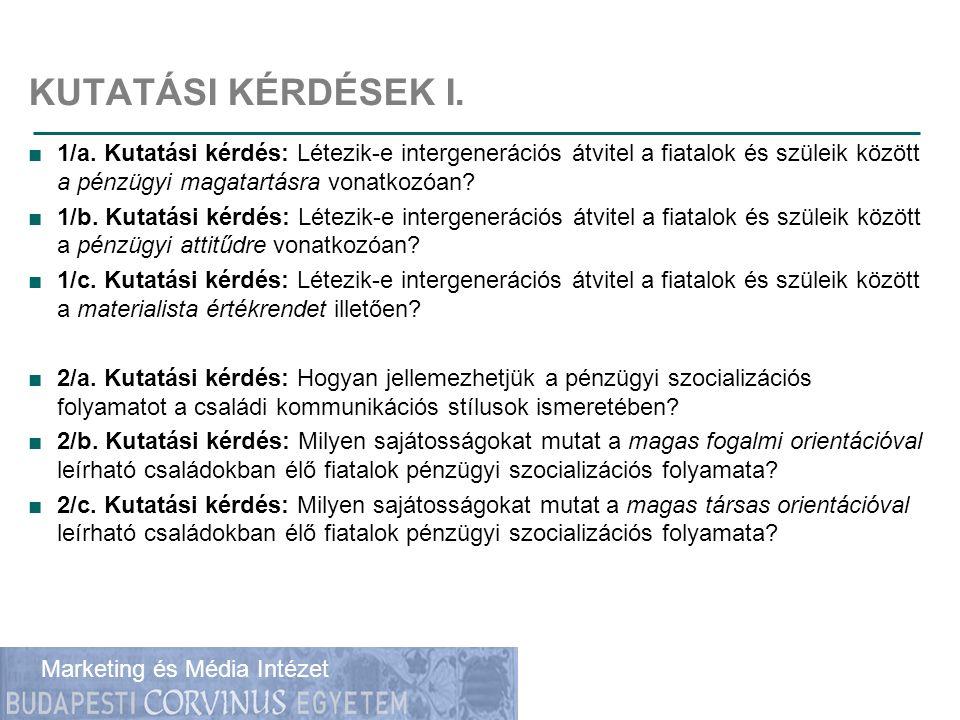 Gazdálkodástudományi Kar Marketing és Média Intézet KUTATÁSI KÉRDÉSEK I.
