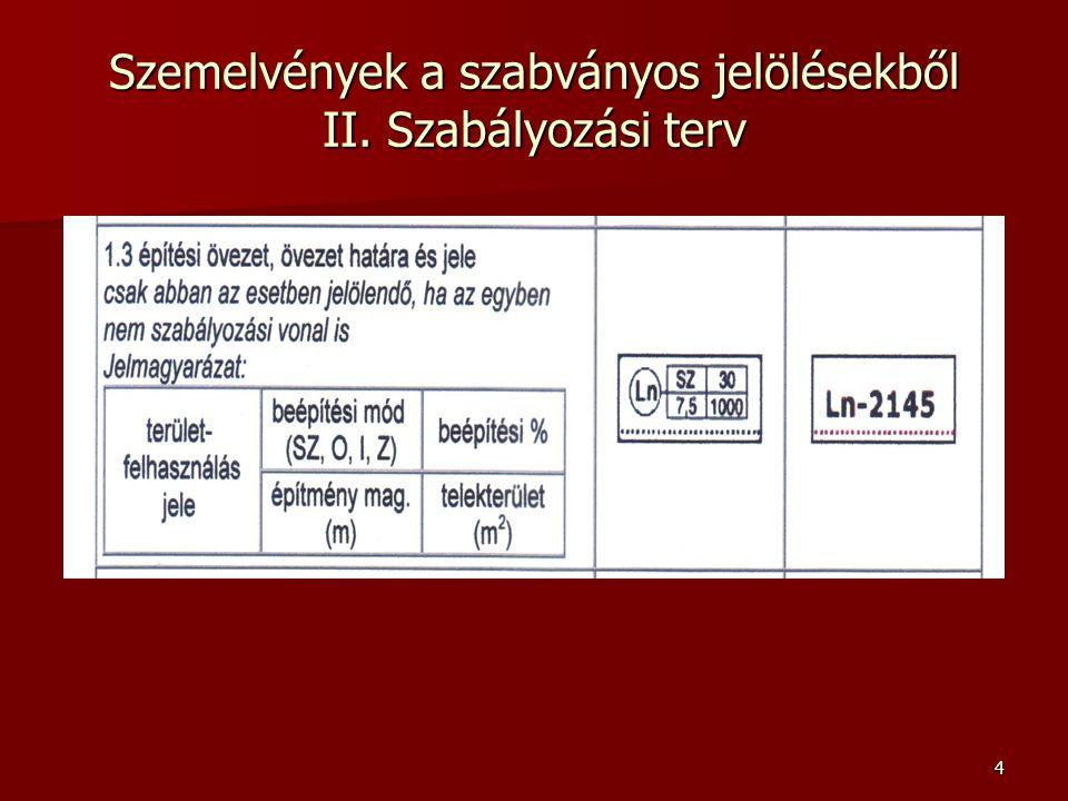 4 Szemelvények a szabványos jelölésekből II. Szabályozási terv