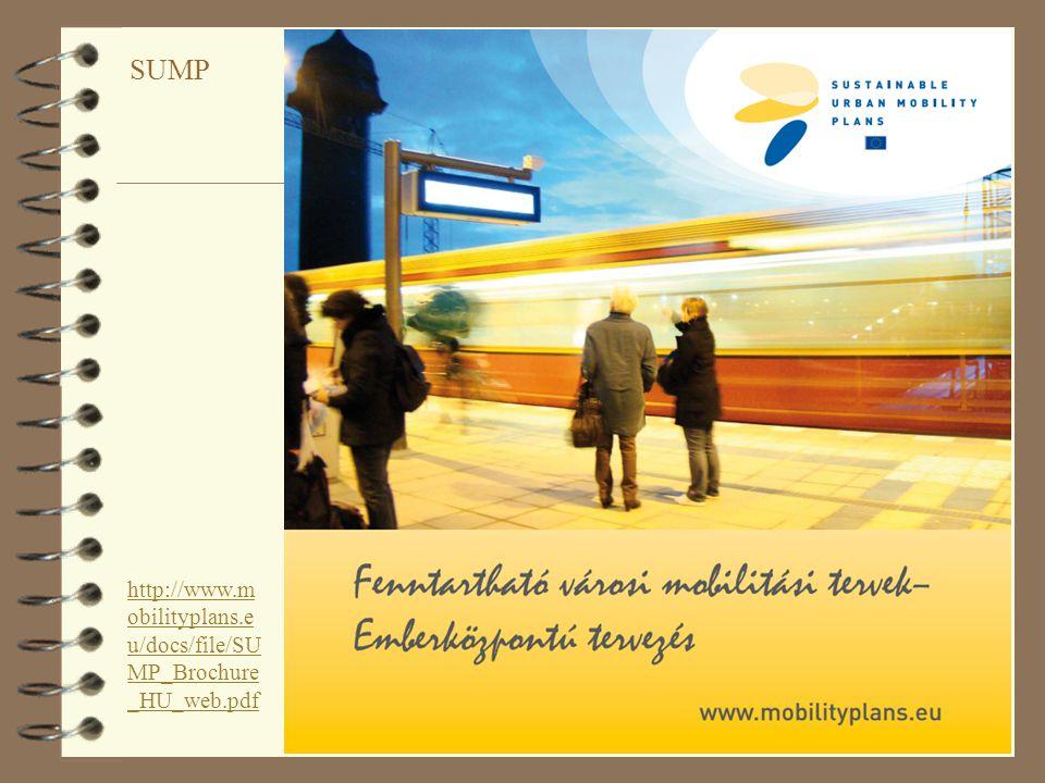 43 Koncepció a fenntartható városi mobilitási tervekre 4 Hosszú távú elképzelések és világos végrehajtási terv ( ütemterv, költségvetés, felelősség delegálása ) 4 A jelenlegi és a jövőbeli teljesítmény értékelése ( helyzetelemzés, teljesítménymutatók, konkrét célkitűzések, mérhető célok ) 4 Valamennyi közlekedési mód kiegyensúlyozott és integrált fejlesztése ( tömegközlekedés:, nem motorizált közlekedés, intermodalitás, biztonság, közúti közlekedés /mozgó és álló/, városi logisztika, mobilitás-menedzsment, intelligens közlekedés ) 4 Horizontális és vertikális integráció ( szakpolitikák között, közigazgatási szintek / területi egységek között, meglévő tervekkel ) 4 Részvételi szemléletmód 4 Ellenőrzés, felülvizsgálat, jelentéstétel 4 Minőségbiztosítás