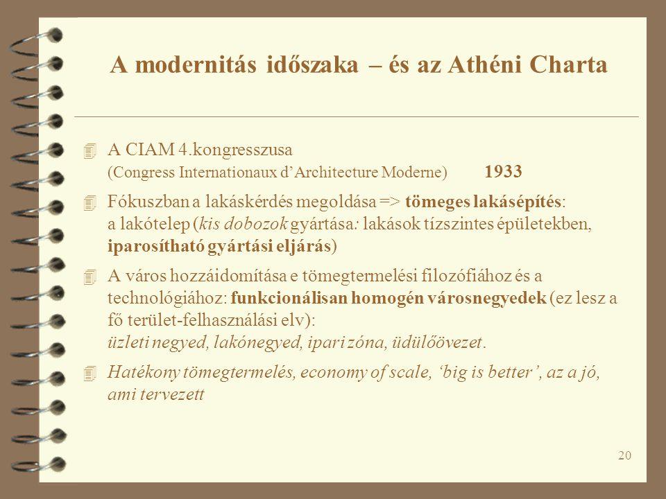 20 A modernitás időszaka – és az Athéni Charta 4 A CIAM 4.kongresszusa (Congress Internationaux d'Architecture Moderne) 1933 4 Fókuszban a lakáskérdés