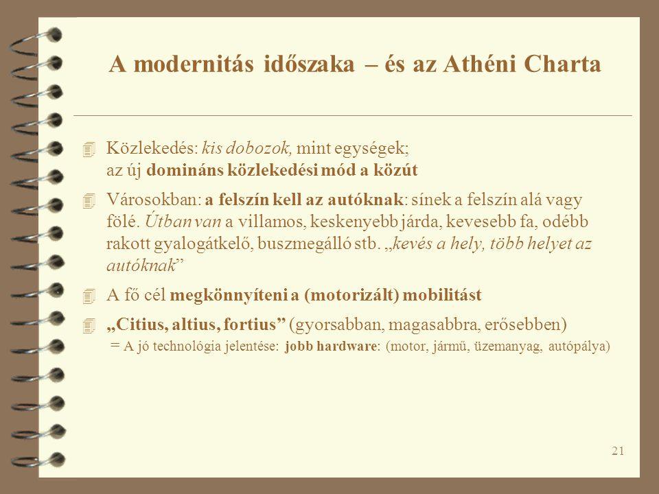 21 A modernitás időszaka – és az Athéni Charta 4 Közlekedés: kis dobozok, mint egységek; az új domináns közlekedési mód a közút 4 Városokban: a felszí