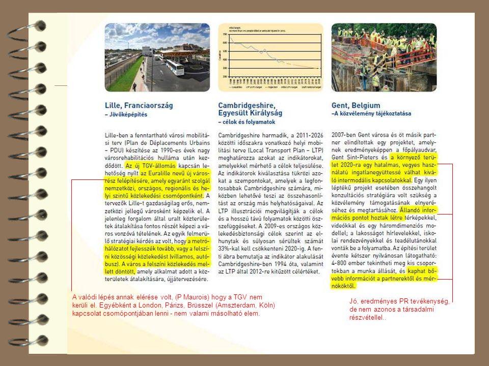 38 A valódi lépés annak elérése volt, (P Maurois) hogy a TGV nem kerüli el. Egyébként a London, Párizs, Brüsszel (Amszterdam, Köln) kapcsolat csomópon