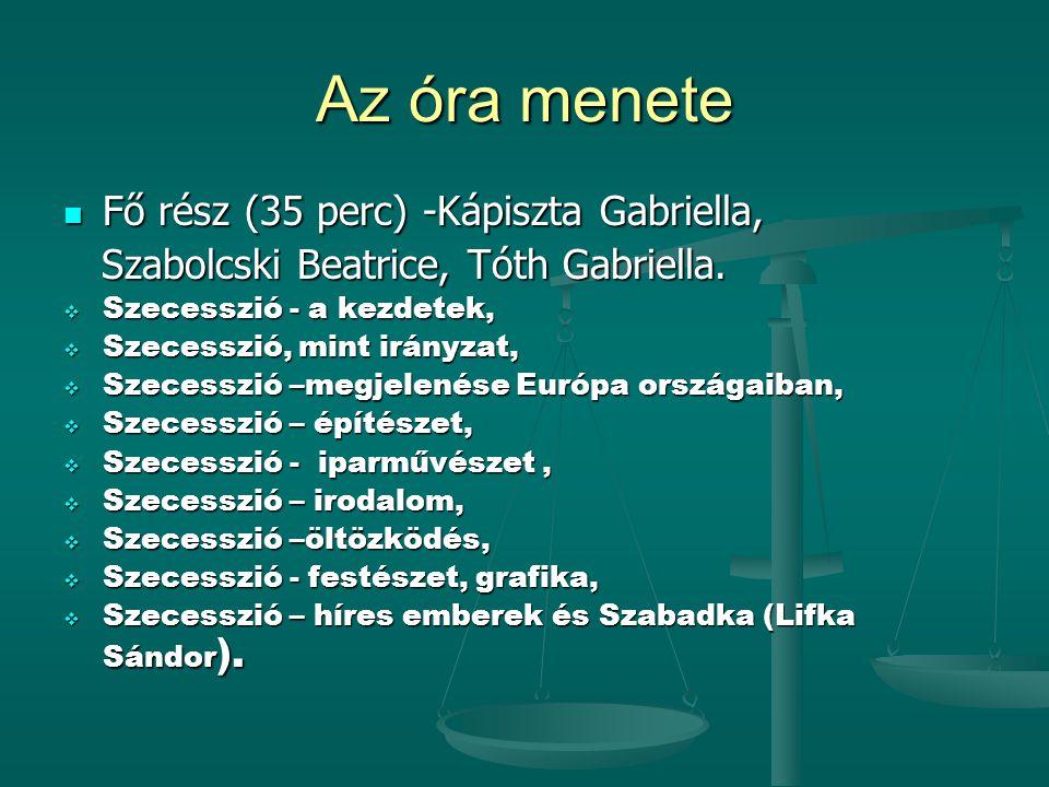 Az óra menete  Fő rész (35 perc) -Kápiszta Gabriella, Szabolcski Beatrice, Tóth Gabriella.