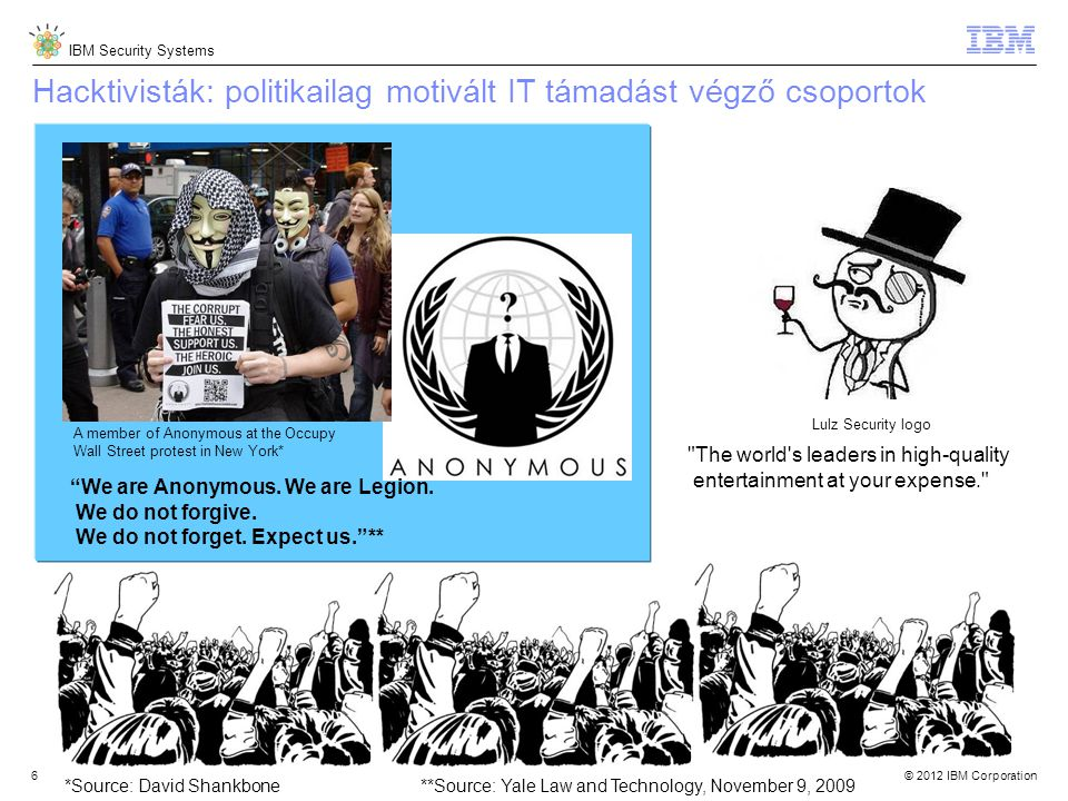 © 2012 IBM Corporation IBM Security Systems 6 Lulz Security logo The world s leaders in high-quality entertainment at your expense. Hacktivisták: politikailag motivált IT támadást végző csoportok A member of Anonymous at the Occupy Wall Street protest in New York* We are Anonymous.