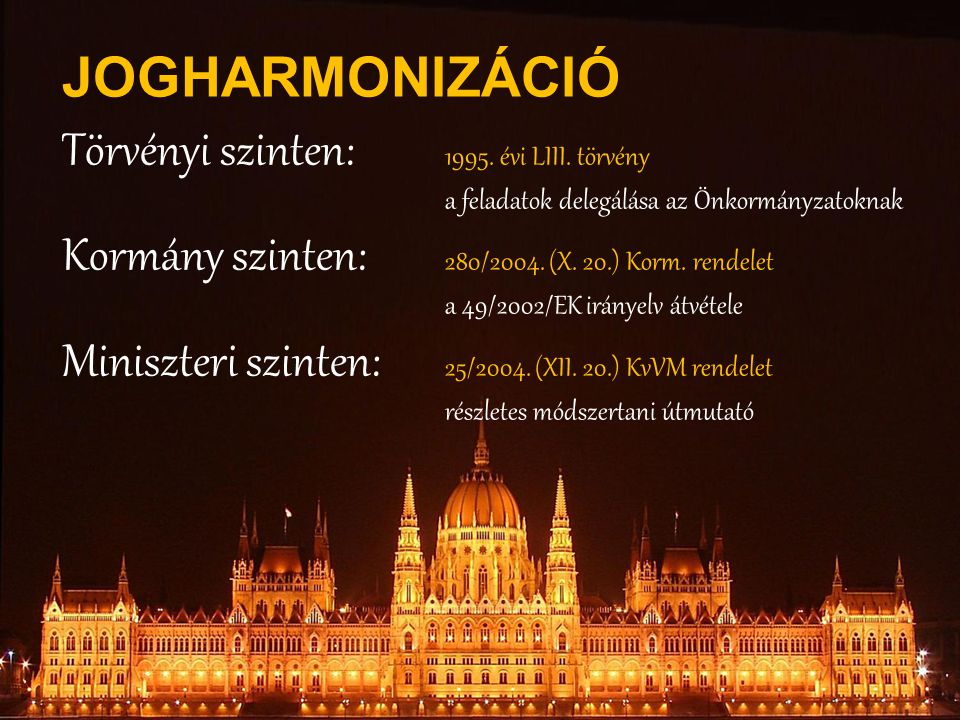 JOGHARMONIZÁCIÓ Törvényi szinten: 1995. évi LIII. törvény a feladatok delegálása az Önkormányzatoknak Kormány szinten: 280/2004. (X. 20.) Korm. rendel