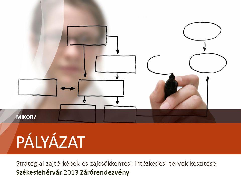PÁLYÁZAT MIKOR? Stratégiai zajtérképek és zajcsökkentési intézkedési tervek készítése Székesfehérvár 2013 Zárórendezvény