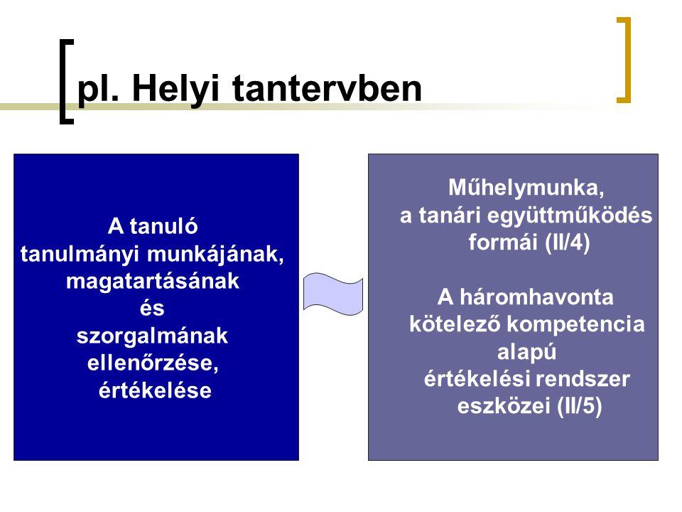 pl. Helyi tantervben A tanuló tanulmányi munkájának, magatartásának és szorgalmának ellenőrzése, értékelése Műhelymunka, a tanári együttműködés formái