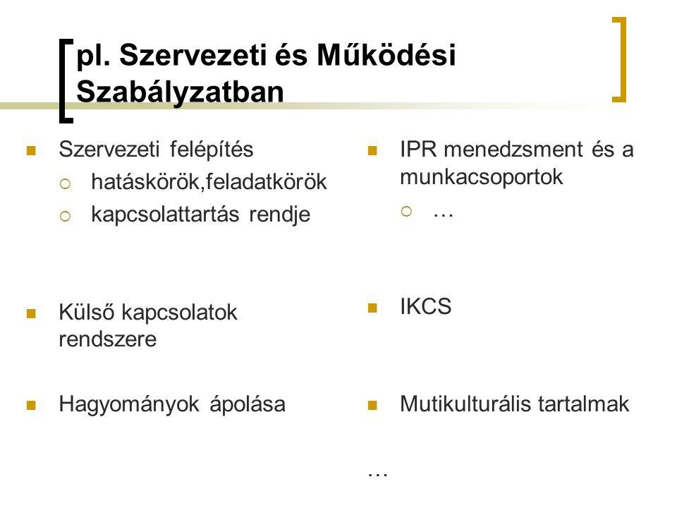 pl. Szervezeti és Működési Szabályzatban  Szervezeti felépítés  hatáskörök,feladatkörök  kapcsolattartás rendje  Külső kapcsolatok rendszere  Hag