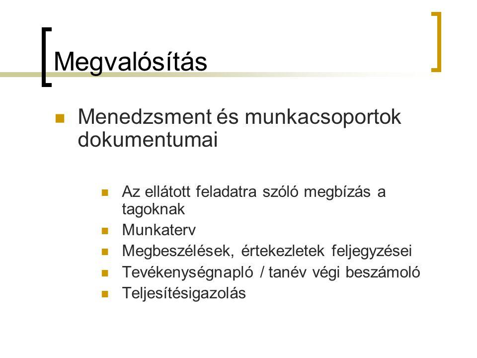 Megvalósítás  Menedzsment és munkacsoportok dokumentumai  Az ellátott feladatra szóló megbízás a tagoknak  Munkaterv  Megbeszélések, értekezletek