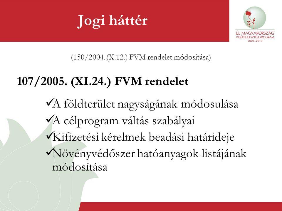 (150/2004. (X.12.) FVM rendelet módosítása) 107/2005. (XI.24.) FVM rendelet  A földterület nagyságának módosulása  A célprogram váltás szabályai  K