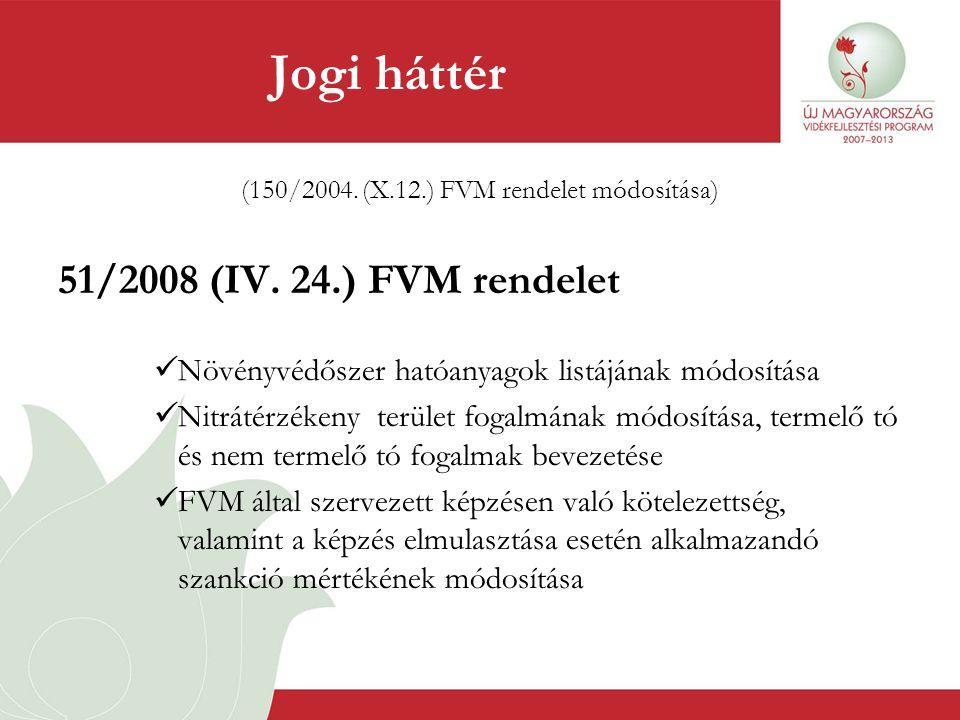 (150/2004. (X.12.) FVM rendelet módosítása) 51/2008 (IV. 24.) FVM rendelet  Növényvédőszer hatóanyagok listájának módosítása  Nitrátérzékeny terület