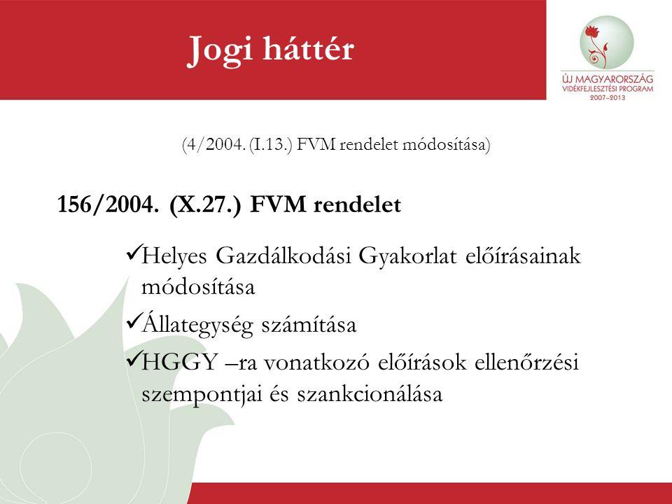 Jogi háttér (4/2004. (I.13.) FVM rendelet módosítása) 156/2004. (X.27.) FVM rendelet  Helyes Gazdálkodási Gyakorlat előírásainak módosítása  Állateg