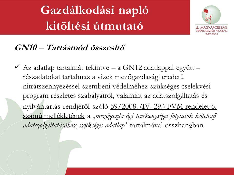 GN10 – Tartásmód összesítő  Az adatlap tartalmát tekintve – a GN12 adatlappal együtt – részadatokat tartalmaz a vizek mezőgazdasági eredetű nitrátsze