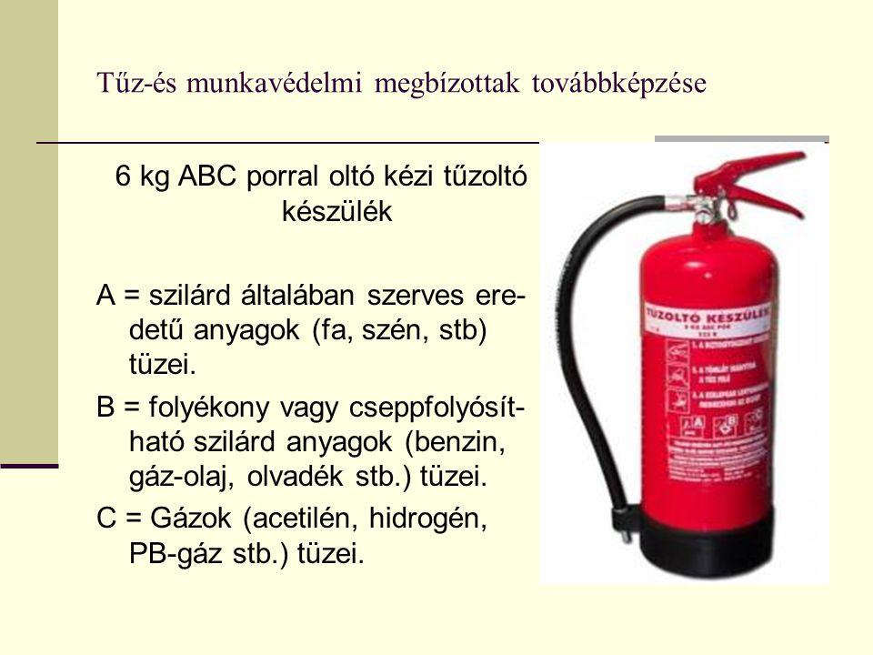 Tűz-és munkavédelmi megbízottak továbbképzése 6 kg ABC porral oltó kézi tűzoltó készülék A = szilárd általában szerves ere- detű anyagok (fa, szén, st
