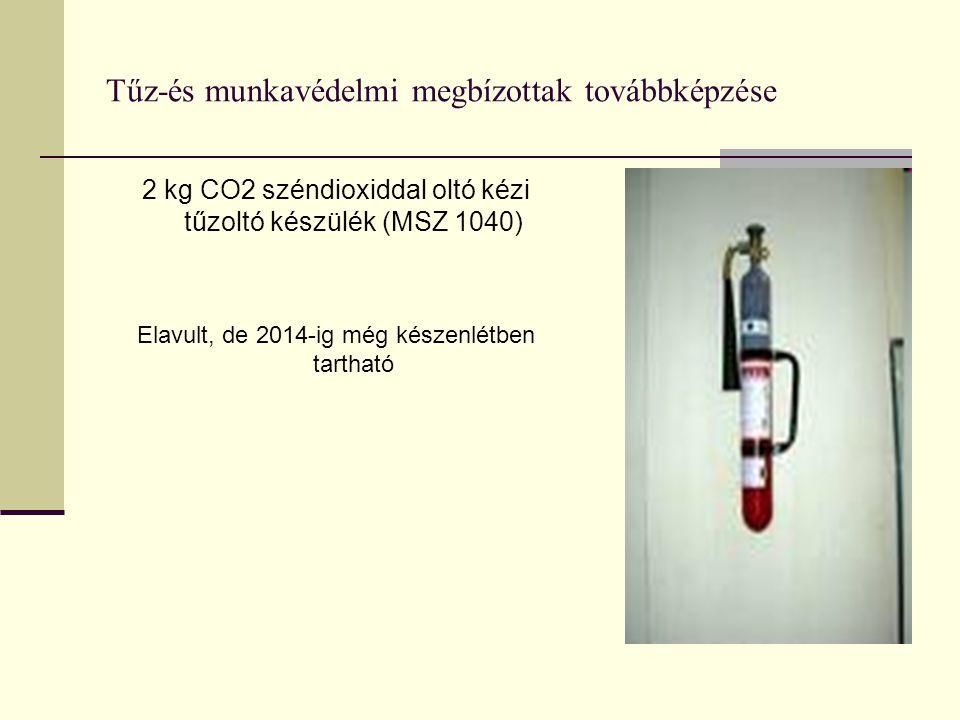 Tűz-és munkavédelmi megbízottak továbbképzése 2 kg CO2 széndioxiddal oltó kézi tűzoltó készülék (MSZ 1040) Elavult, de 2014-ig még készenlétben tartha