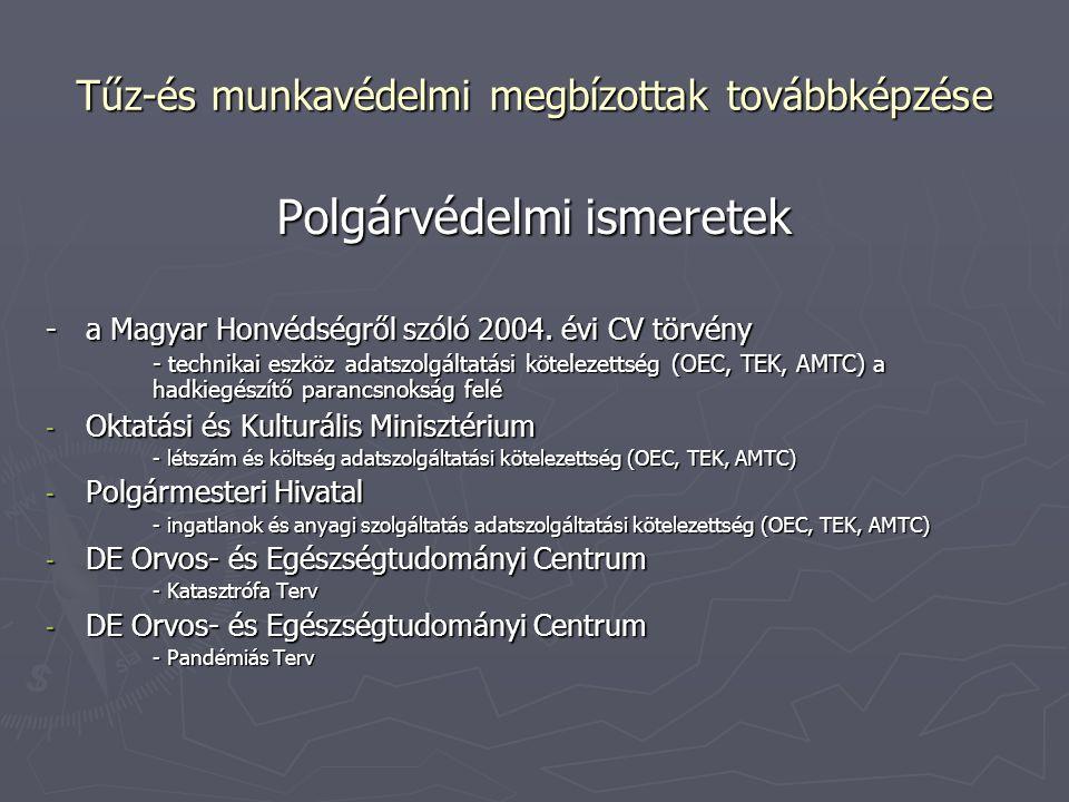 Tűz-és munkavédelmi megbízottak továbbképzése Polgárvédelmi ismeretek -a Magyar Honvédségről szóló 2004. évi CV törvény - technikai eszköz adatszolgál