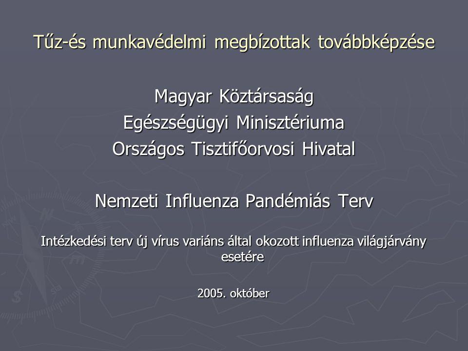 Tűz-és munkavédelmi megbízottak továbbképzése Magyar Köztársaság Egészségügyi Minisztériuma Országos Tisztifőorvosi Hivatal Nemzeti Influenza Pandémiá