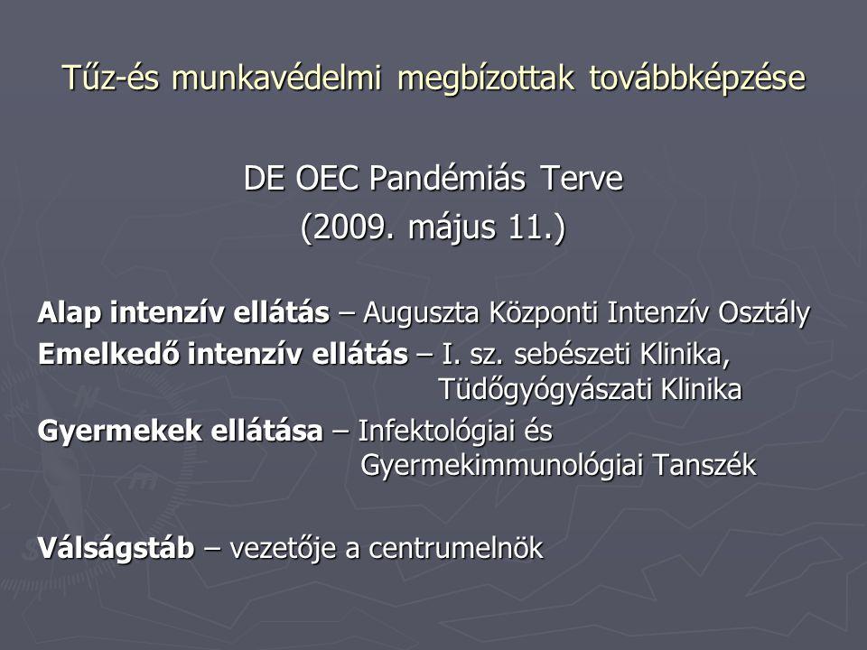 Tűz-és munkavédelmi megbízottak továbbképzése DE OEC Pandémiás Terve (2009. május 11.) Alap intenzív ellátás – Auguszta Központi Intenzív Osztály Emel