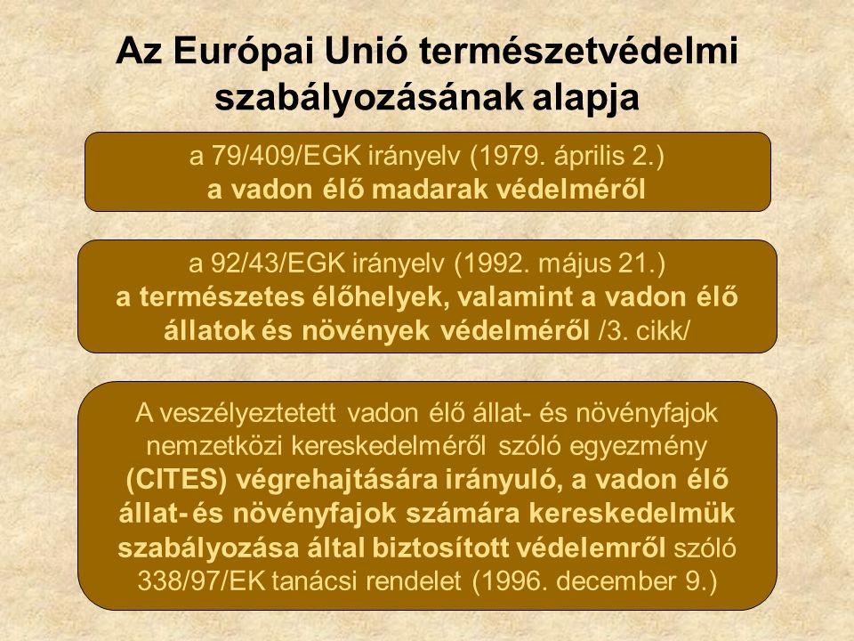 Az Európai Unió természetvédelmi szabályozásának alapja a 79/409/EGK irányelv (1979. április 2.) a vadon élő madarak védelméről a 92/43/EGK irányelv (