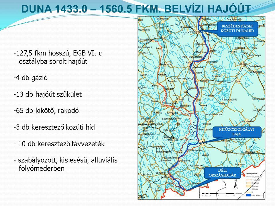 DUNA 1433.0 – 1560.5 FKM. BELVÍZI HAJÓÚT -127,5 fkm hosszú, EGB VI. c osztályba sorolt hajóút -4 db gázló -13 db hajóút szűkület -65 db kikötő, rakodó