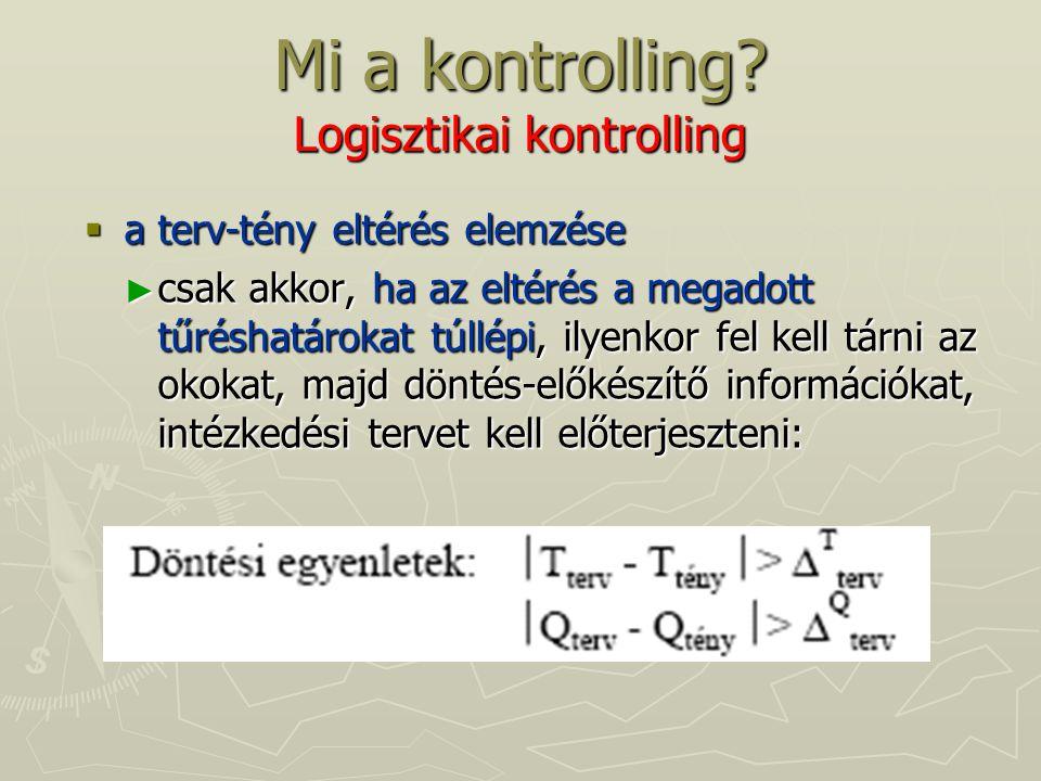 Mi a kontrolling? Logisztikai kontrolling  a terv-tény eltérés elemzése ► csak akkor, ha az eltérés a megadott tűréshatárokat túllépi, ilyenkor fel k