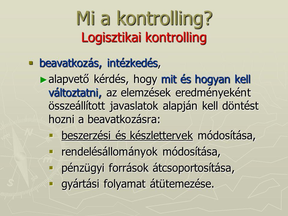 Mi a kontrolling? Logisztikai kontrolling  beavatkozás, intézkedés, ► alapvető kérdés, hogy mit és hogyan kell változtatni, az elemzések eredményekén