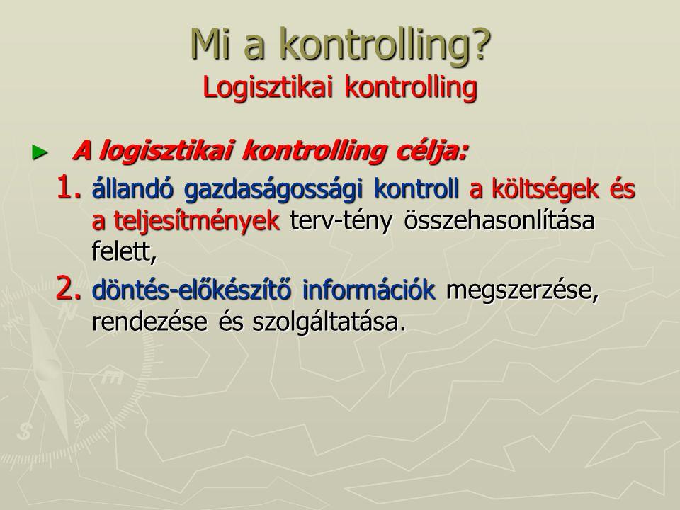 Mi a kontrolling? Logisztikai kontrolling ► A logisztikai kontrolling célja: 1. állandó gazdaságossági kontroll a költségek és a teljesítmények terv-t