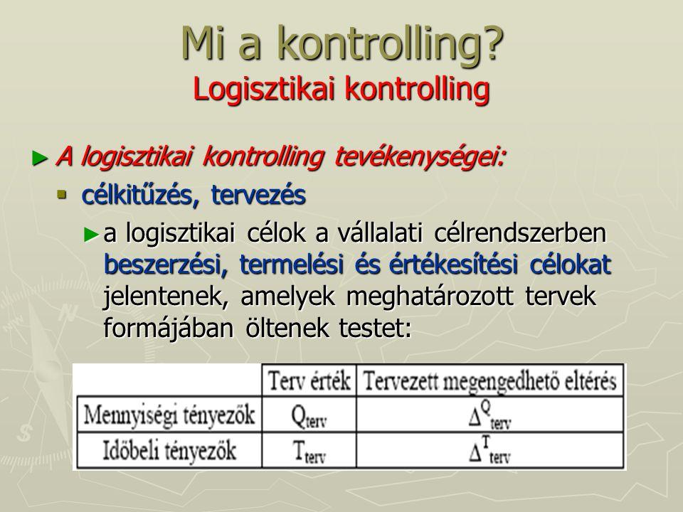 Mi a kontrolling? Logisztikai kontrolling ► A logisztikai kontrolling tevékenységei:  célkitűzés, tervezés ► a logisztikai célok a vállalati célrends