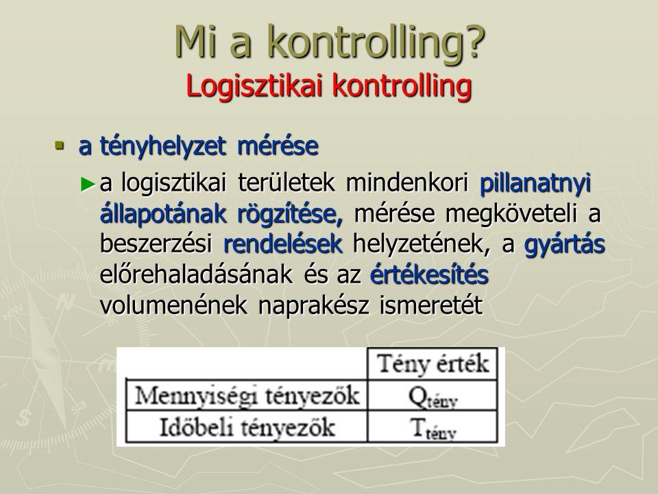 Mi a kontrolling? Logisztikai kontrolling  a tényhelyzet mérése ► a logisztikai területek mindenkori pillanatnyi állapotának rögzítése, mérése megköv