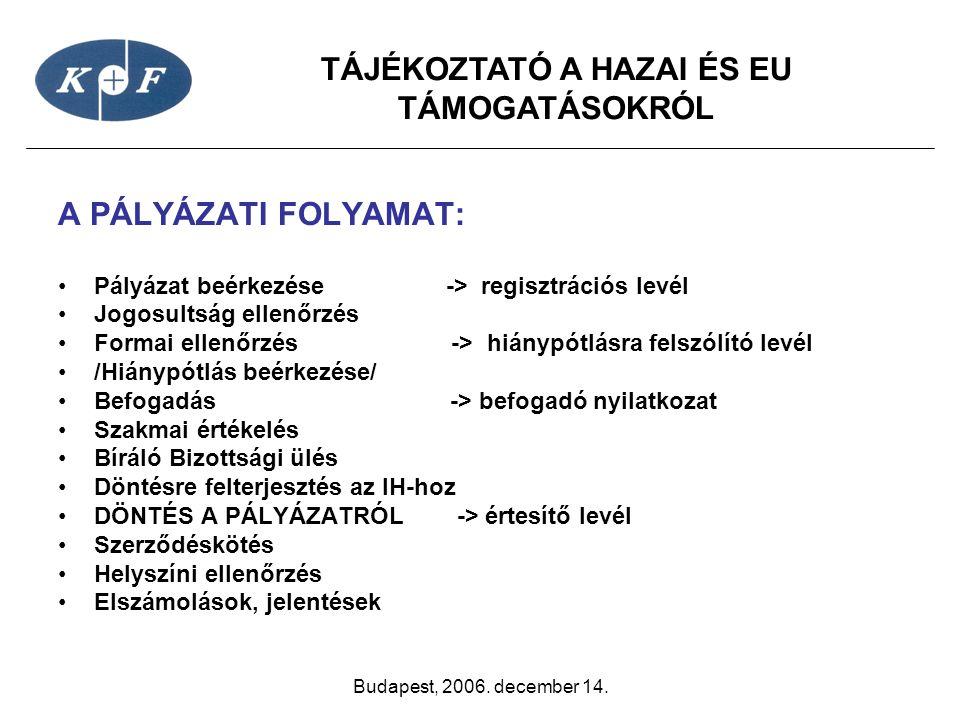 TÁJÉKOZTATÓ A HAZAI ÉS EU TÁMOGATÁSOKRÓL Budapest, 2006. december 14. A PÁLYÁZATI FOLYAMAT: •Pályázat beérkezése -> regisztrációs levél •Jogosultság e