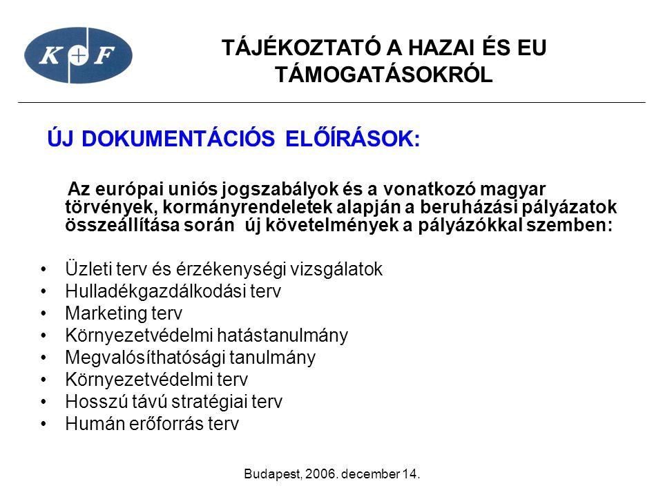 TÁJÉKOZTATÓ A HAZAI ÉS EU TÁMOGATÁSOKRÓL Budapest, 2006. december 14. ÚJ DOKUMENTÁCIÓS ELŐÍRÁSOK: Az európai uniós jogszabályok és a vonatkozó magyar