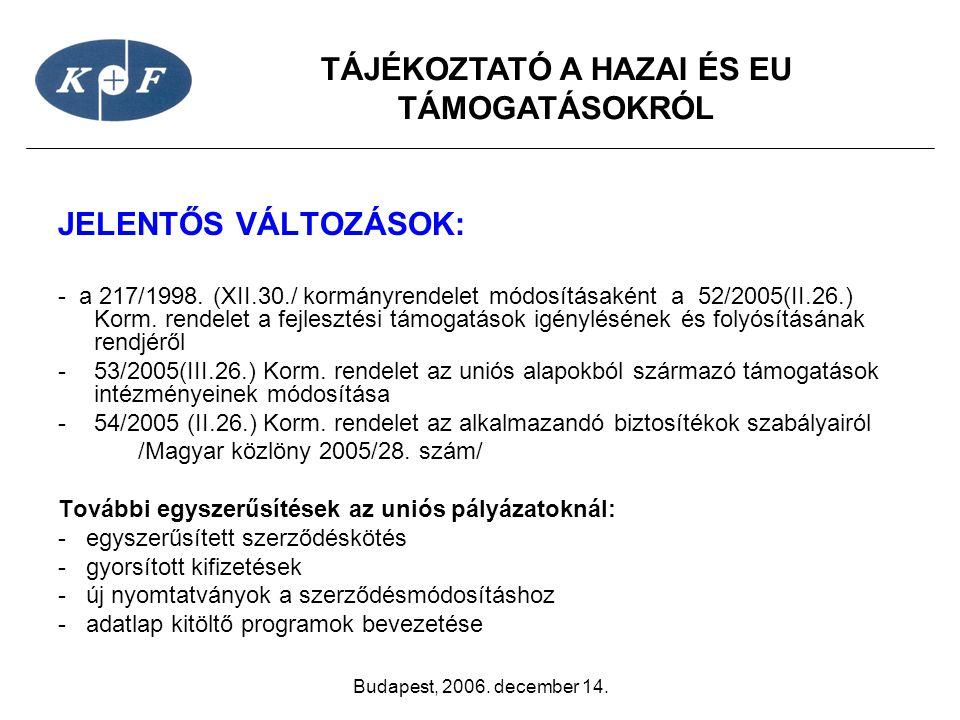 TÁJÉKOZTATÓ A HAZAI ÉS EU TÁMOGATÁSOKRÓL Budapest, 2006. december 14. JELENTŐS VÁLTOZÁSOK: - a 217/1998. (XII.30./ kormányrendelet módosításaként a 52