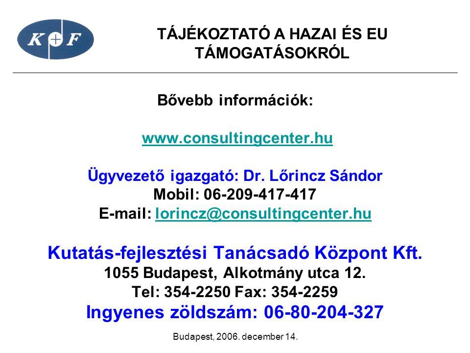 TÁJÉKOZTATÓ A HAZAI ÉS EU TÁMOGATÁSOKRÓL Budapest, 2006. december 14. Bővebb információk: www.consultingcenter.hu Ügyvezető igazgató: Dr. Lőrincz Sánd