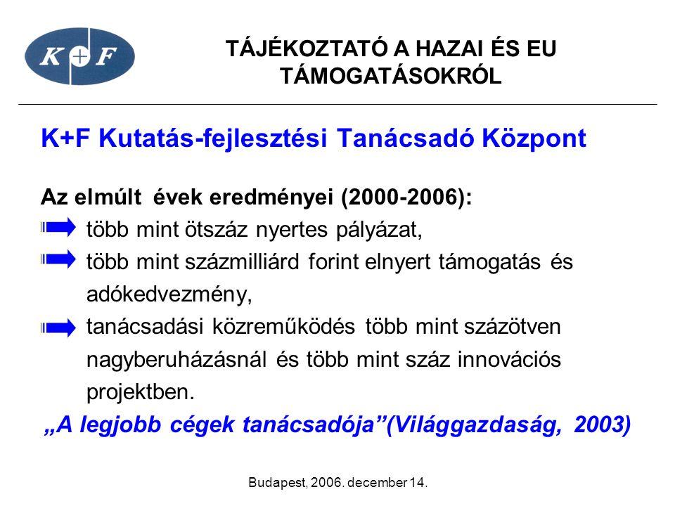 TÁJÉKOZTATÓ A HAZAI ÉS EU TÁMOGATÁSOKRÓL Budapest, 2006. december 14. K+F Kutatás-fejlesztési Tanácsadó Központ Az elmúlt évek eredményei (2000-2006):