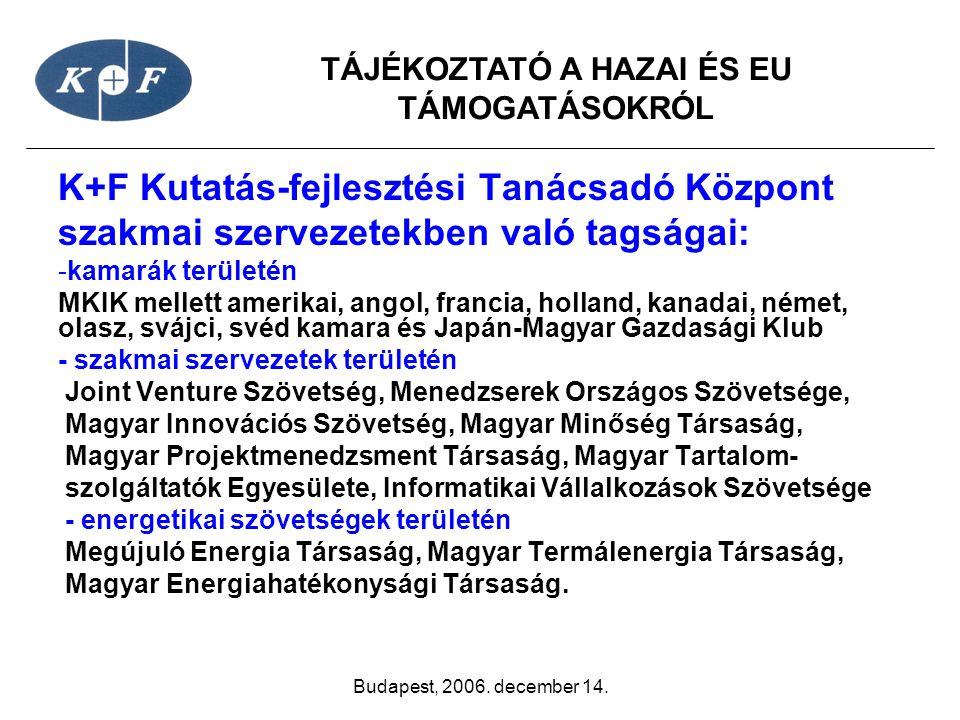 TÁJÉKOZTATÓ A HAZAI ÉS EU TÁMOGATÁSOKRÓL Budapest, 2006. december 14. K+F Kutatás-fejlesztési Tanácsadó Központ szakmai szervezetekben való tagságai: