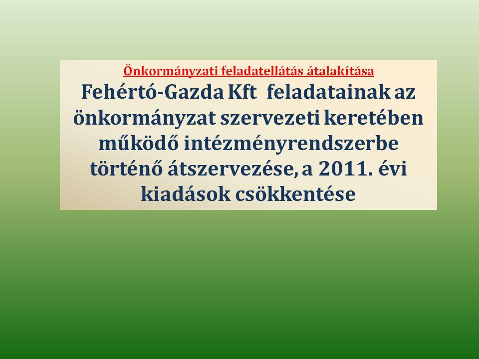 Önkormányzati feladatellátás átalakítása Fehértó-Gazda Kft feladatainak az önkormányzat szervezeti keretében működő intézményrendszerbe történő átszervezése, a 2011.