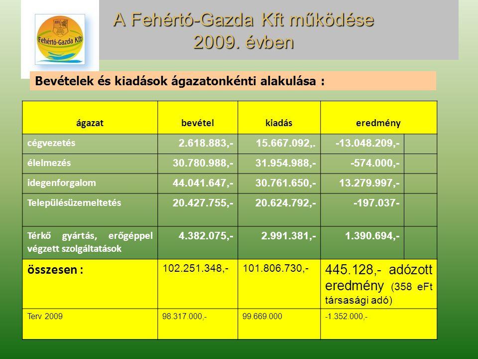 A Fehértó-Gazda Kft működése 2009.