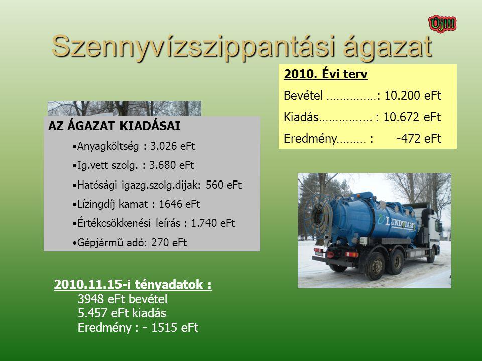 Szennyvízszippantási ágazat 2010. Évi terv Bevétel ……………: 10.200 eFt Kiadás…………….